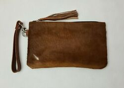 Real Cowhide Natural Brown Wristlet Women Clutch Leather Hair On Wristlet Purse $21.00