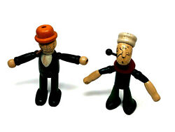 Popeye And Moon Mullins Wood And String Jointed Figures By Jaymar