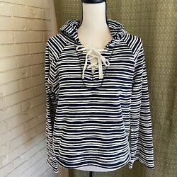 Sanctuary Women#x27;s Beach Striped Crochet Long Sleeve Navy Hooded Sweater Sz M $14.99