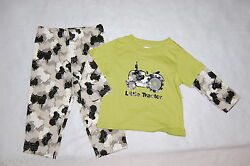 Toddler Boys L/s Outfit Lime Shirt Black Gray Camo Pants 12 18 24 Mo Tractor