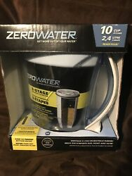 Zero Water Pitcher 10 Cup 5 Stage Advanced Filtration 2.4 L wTester + 2 Filters