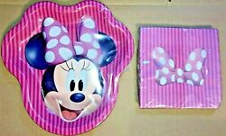 Minnie Mouse 8 Minnie Shaped Plates And 16 Large Party Napkins New Free Ship
