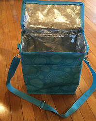 Thirty One Thermal Cooler Tote Bag Teal Blue Design Carry Bag Picnic 11x12x6 $12.99