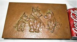 ANTIQUE COPPER & BAKELITE J.B. SCOTTISH TERRIER DOG DESK ART NOVELTY TRINKET BOX