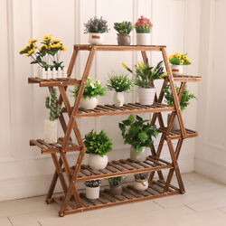 Extra Large Multi Tier Wood Flower Rack Plant Stand Bonsai Shelf Indoor Outdoor