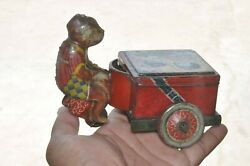 Vintage Butterfly Trademark Litho Monkey Riding Luggage Cart Tin Toy,japan