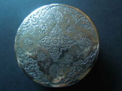 J2104 Antique Middle East Box  Solid Coin Silver  Nice  Engraved See Des