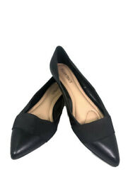 Womenand039s Ellen Tracy Finn Black Leather Pointed Toe Slip On Wedge Flats Size 8.5
