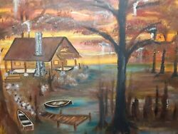 Art Paintings Cabin In The Swamp, South , Wow Nice Colors Original 1 / Of A Kind