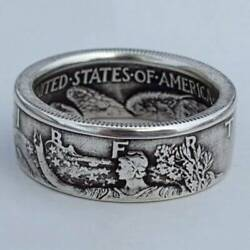 Men 925 Silver Handmade Coin Retro Vintage Morgan Carved Rings Jewelry Size 6-12