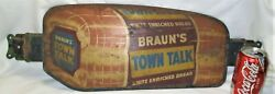 Antique Us Non Porcelain Town Talk Bread Country Bakery Store Door Push Art Sign