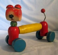 Red Robin Japan Vintage Wood Dog Pull Toy Missing Eyes And String Sold As Is