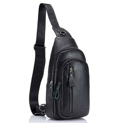 Leather Sling Bag Crossbody Backpack for Men Shoulder Chest Bags Daypack Pouch $33.89