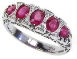 Ruby And Diamond Vintage Ring, 9ct 9k Solid Gold, Victorian Womens R156 Custom