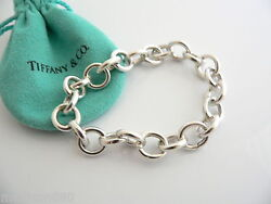 And Co Silver Circles Link Clasp Charm Bracelet Bangle 8 Inch Gift Love