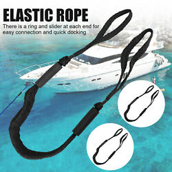 2 Pack Marine Bungee Dock Line Boat Mooring Rope Anchor Cord Stretch Shock Black