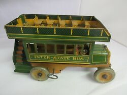 Vintage Strauss Wind Up Inter-state Bus Metal Toy Must See  155-