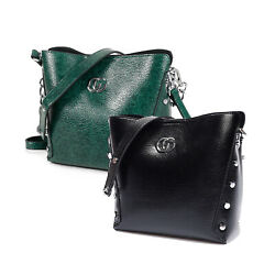 Women Retro Bucket Shoulder Bag Rivet Chain Top handle Handbag Crossbody Purses $14.99