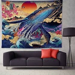 Sunset Tapestry 3D Great Japanese Sea Ocean Wave Whale Wall Hanging Home