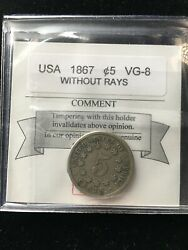 1867 Without Rays Usa Nickel Andcent5 Cent