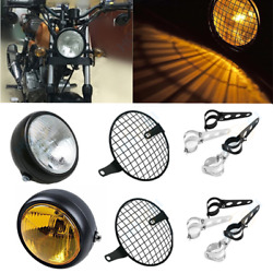 6.5 Retro Motorcycle Headlight Vintage Lamp+mesh Grille+mounts For Cafe Racer