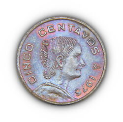 1976 Mexico Cinco 5 Centavos Coin Nicely Colored Red / Blue Toning