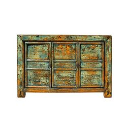 Chinese Distressed Teal Blue Green Sideboard Console Table Cabinet Cs5763