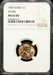 1957-d Ddo Vp-004 Lincoln Wheat Penny Ngc Ms65 Rd Red P7-069-012