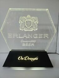 Vintage Lighted Erlanger Bar Sign In Bottles And On Draught Are Interchangeable