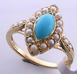 Turquoise And Pearl Vintage Ring 9ct 9k Solid Gold Womens Antique R65 Custom