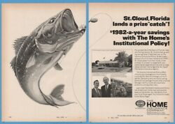 1969 Home Insurance St Cloud Fl GIANT Bass Fish Lure Art City Hall Photo Ad