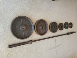 Vintage Marcy Co Los Angeles Olympic Weights And Bar Set - Excellent Condition