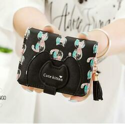Women ID Card Wallet Short Cat Cute Small Leather Bifold Coin Holder Mini Purse $11.51