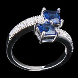 Women Double Square Crystal Open Ring Finger Rings Adjustable Opening Ring FM