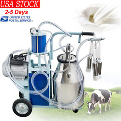 25l Electric Milking Machine For Farm Cows Cattle W/bucket 110v Fast Ship
