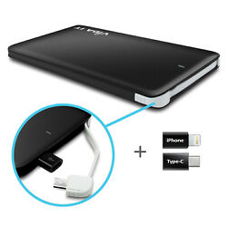 Slim Universal Power Bank Outdoor Battery Charger 5v With Iphone/ Type C Adapter