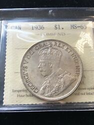 1936  Iccs Graded Canadian Silver Dollar Ms-65