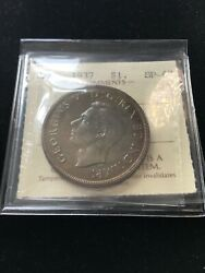 1937 Matte Iccs Graded Canadian Silver Dollar Sp-67