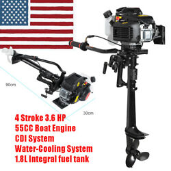 1.8l Tank 4-stroke 3.6hp Outboard Motor 55cc Boat Engine Air Cooling 1 Cylinder