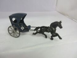 Vintage Childs Cast Iron Horse And Buggy Toy Beautiful 418-