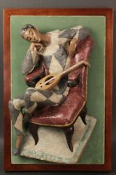 Mounted Lladro Harlequin Wall Plaque Issued In 1970 Made By Fulgencio Garcia