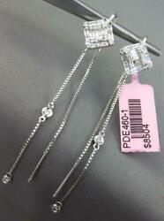Large 1.1ct Diamond 18k White Gold Round And Baguette Chandelier Hanging Earrings
