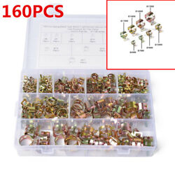 160pcs 8 Size Car Spring Clip Fuel Line Hose Water Pipe Clamp Assortment Kits