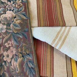 Antique Vintage French Fabric Scraps Pack Grain Sack Linen Ticking Tapestry Bits