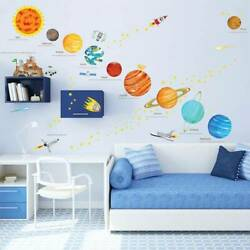 Solar System Wall Stickers Space Planets Kids Education Art Decals Home Decors