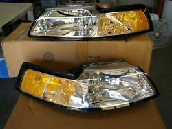 Nos Oem Ford 1999 2000 Mustang Clear Headlights Headlamps Pair Gt Cobra