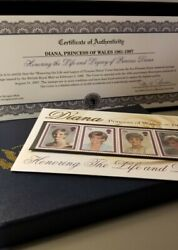Diana Princess Of Wales Morgan Mint Commemorative 5 Stamp Collection W/ Coa