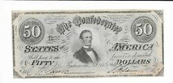 50 Csa 1864 Confederate Currency T66 Bank Note J Davis 7236 Cr497 Plate Z A