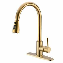 Brushed Gold Kitchen Sink Faucet Single Handle Mixer Faucet Pull Out Sprayer Tap