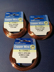 20 Gauge Copper Wire 24 Yards Tarnish Resistant Craft Jewelry 3 Pack